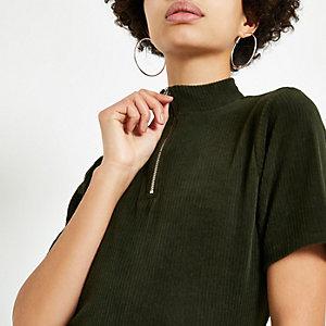 Khaki cord zip high neck T-shirt