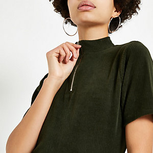 Khaki cord zip high neck T-shirt