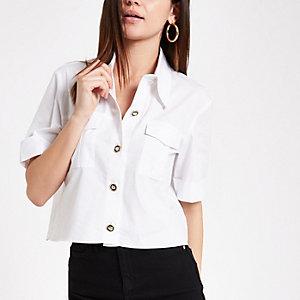 Wit utility overhemd met korte mouwen