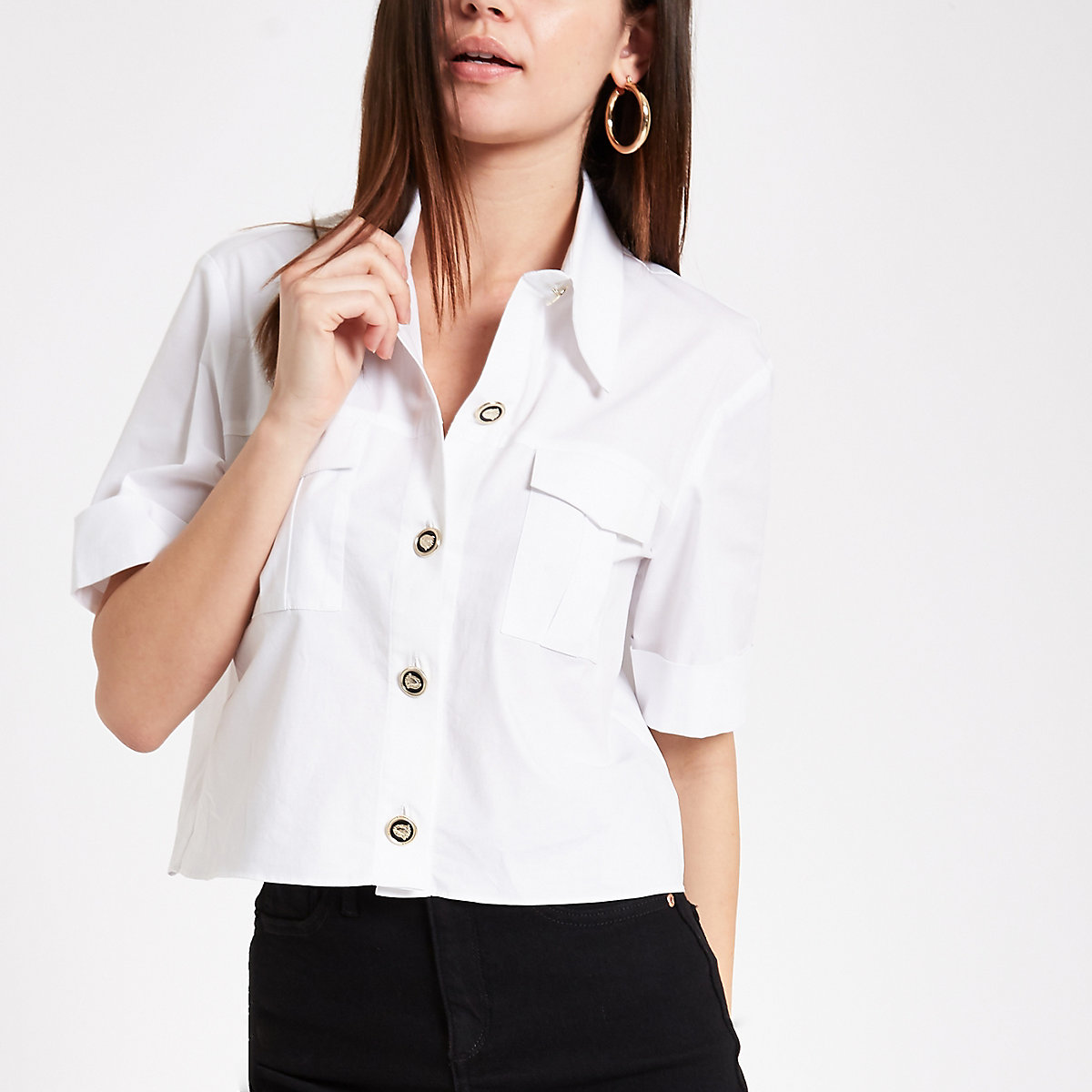 White utility short sleeve shirt