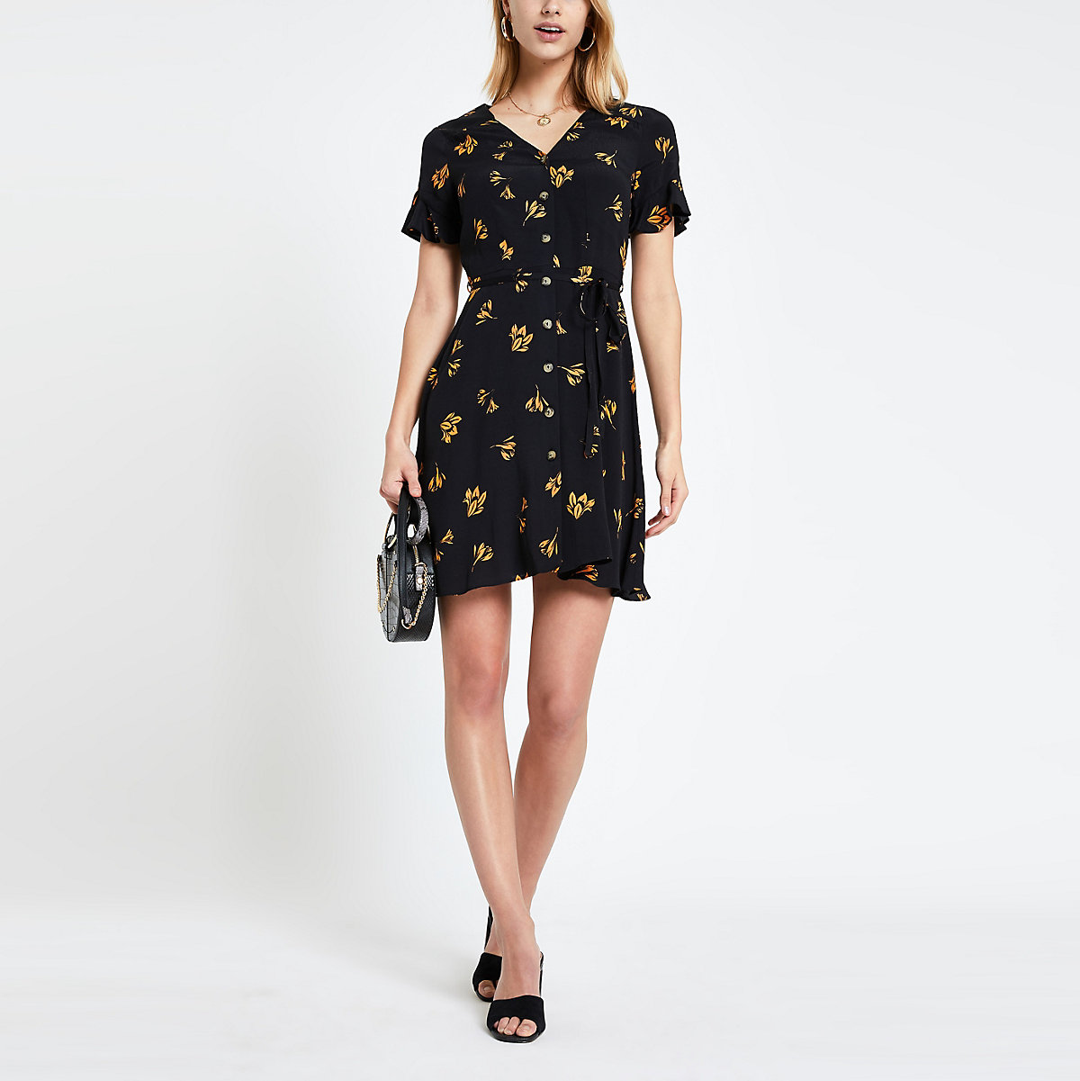 Black floral print tea dress