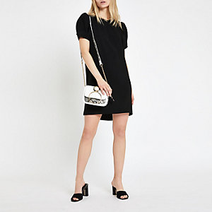 Black puff sleeve swing dress