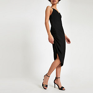 Black ruched midi slip dress