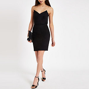 Black chain trim bodycon dress