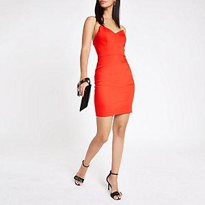 Red chain strap bodycon dress
