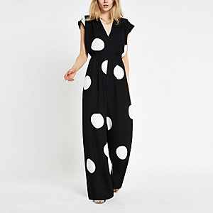 Black spot wide leg jumpsuit