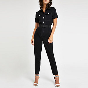 Black belted utility jumpsuit
