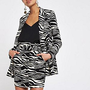 Black zebra print blazer dress