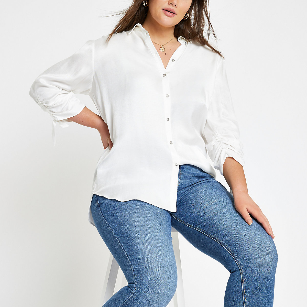 Plus white ruched sleeve shirt