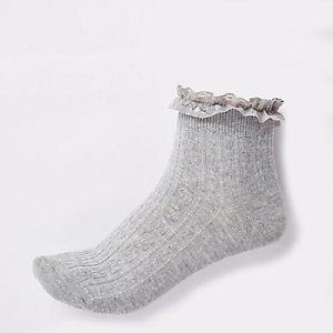 Light grey cable knit frill socks