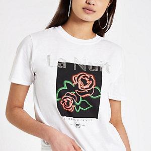 White rose print sequin T-shirt
