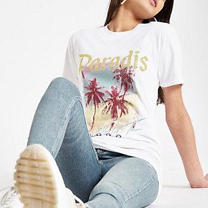 T-shirt imprimé palmier blanc à sequins