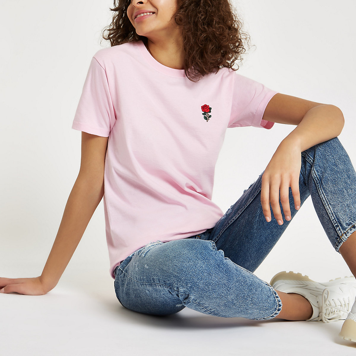 Pink rose embroidered T-shirt