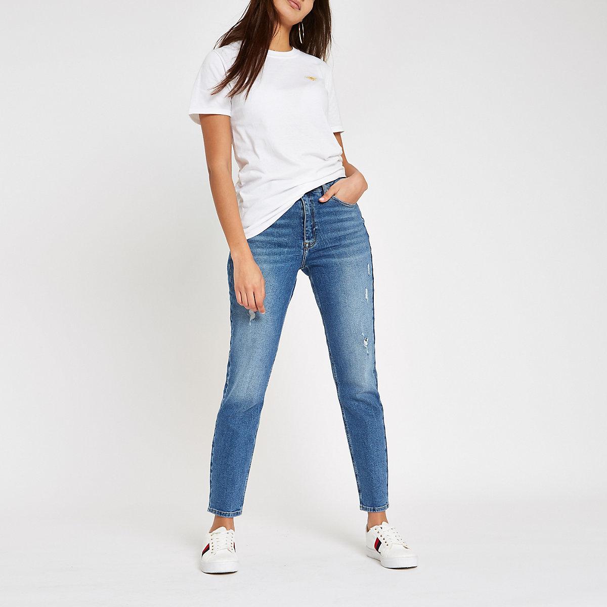 White wasp embroidered boyfriend T-shirt