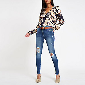 Molly - Middenblauwe ripped jegging
