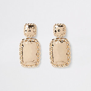 Gold color twist rectangle drop earrings