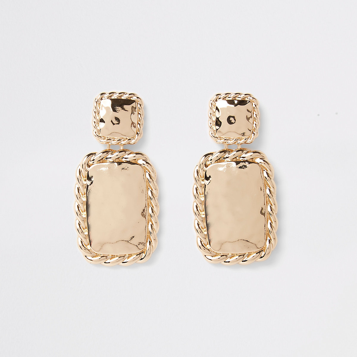 Gold colour twist rectangle drop earrings