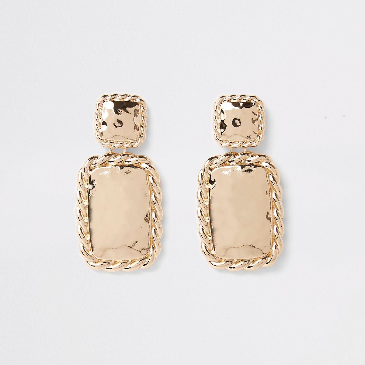 Gold color twist rectangle drop earrings