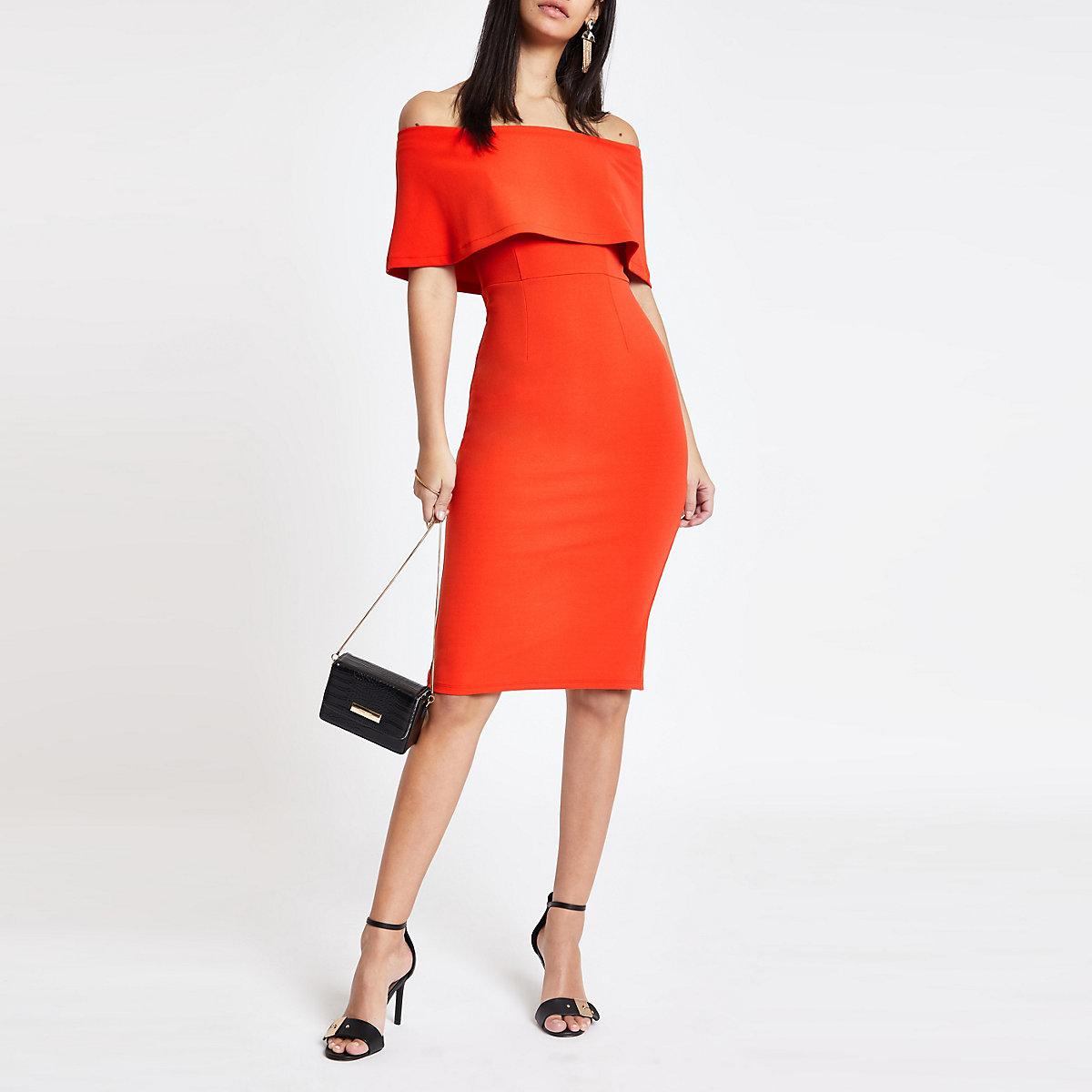 Bright red cape midi dress