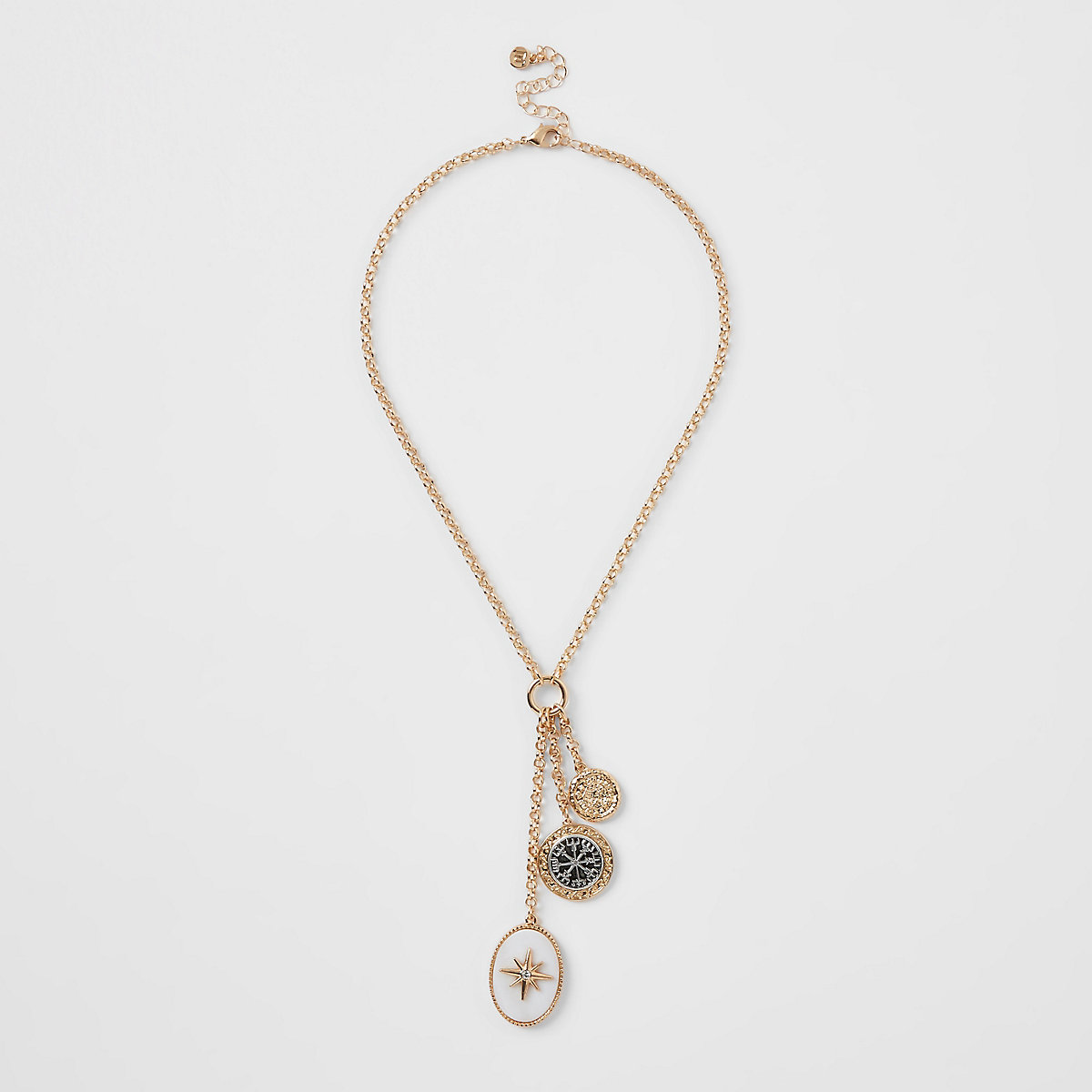 Gold color oval pendant necklace