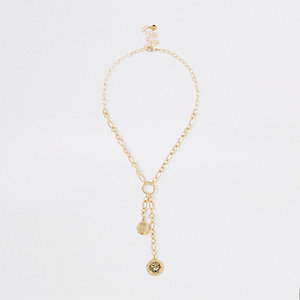 Gold color chain coin necklace