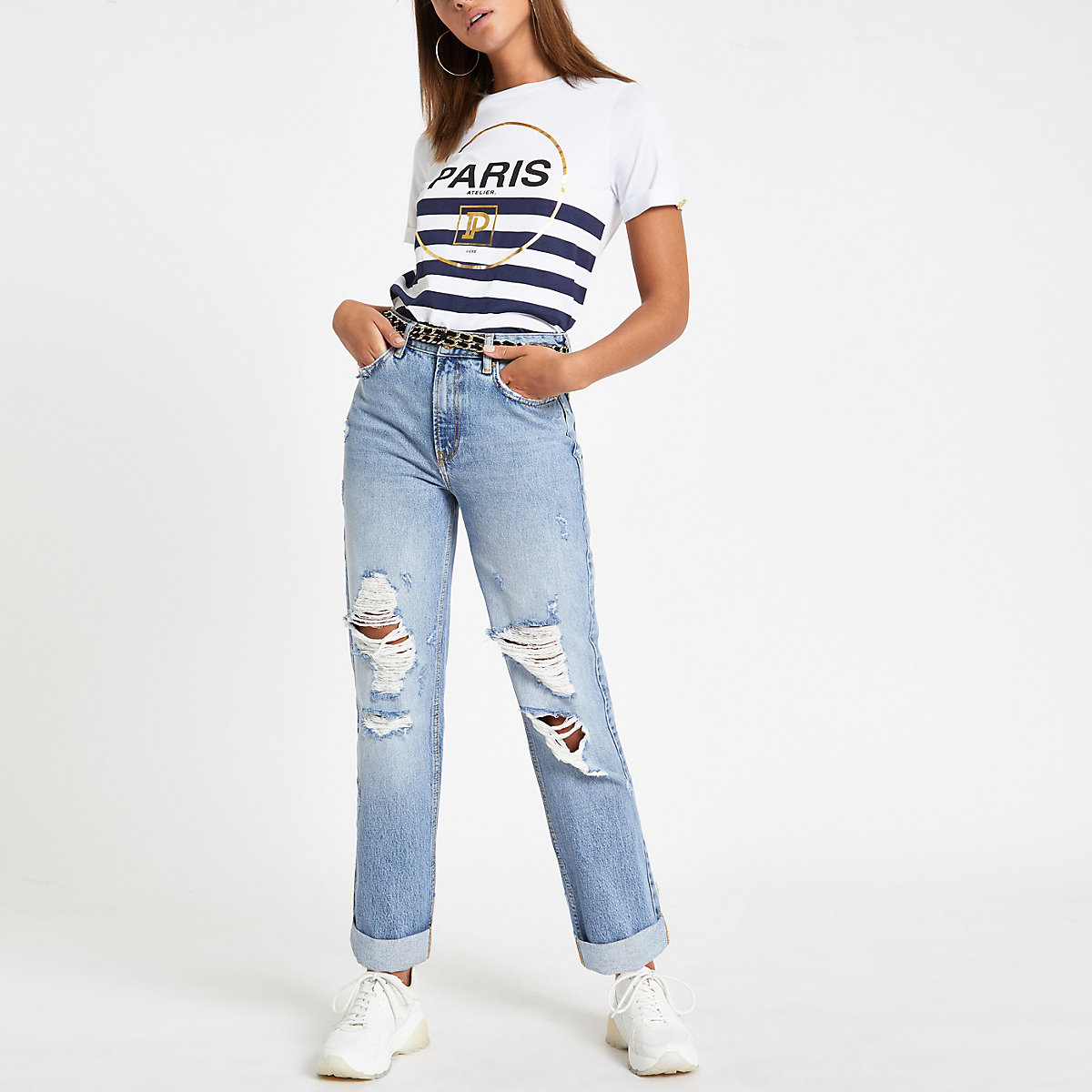 White 'Paris' stripe print T-shirt