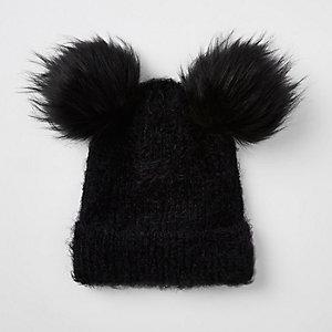 Zwarte beanie met twee pompons