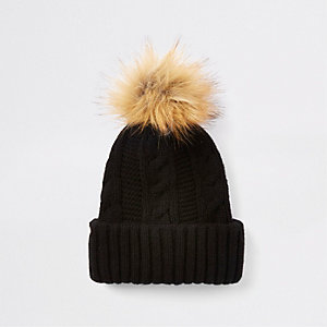 Black cable knit pom pom hat 4e7d0bb2abc