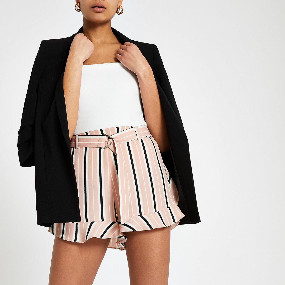 Pink stripe belted shorts