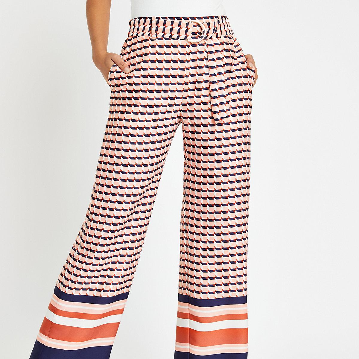 Pink geo print wide leg pants