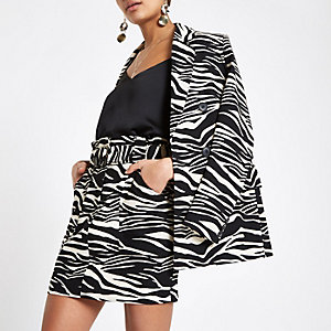 Black zebra print paperbag skirt