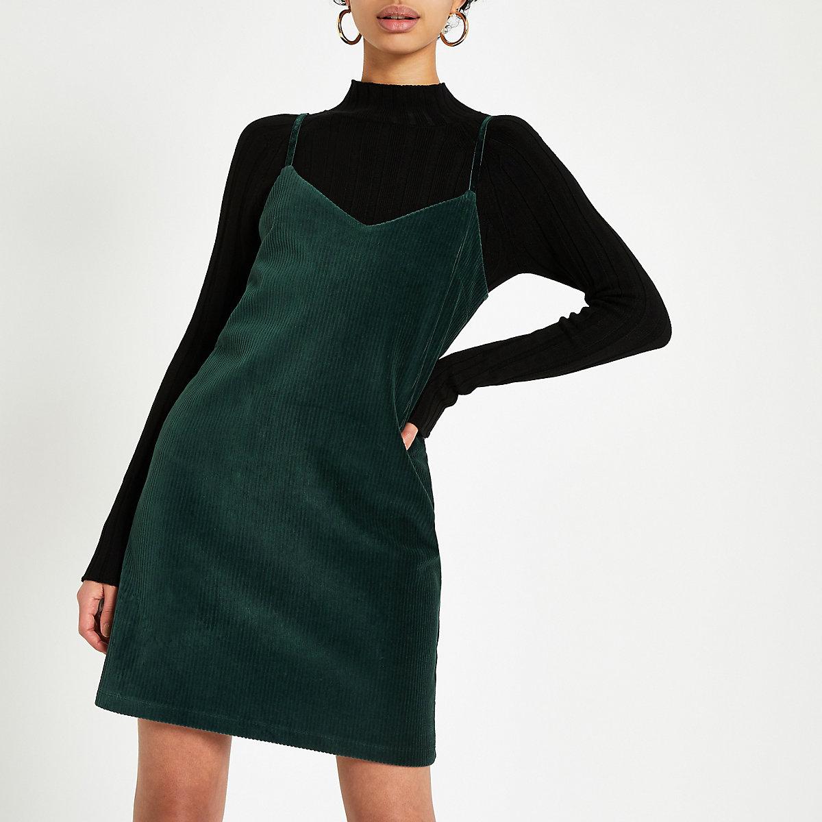 Dark green cord slip dress