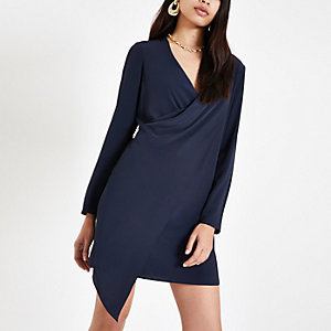 Navy drape front swing dress