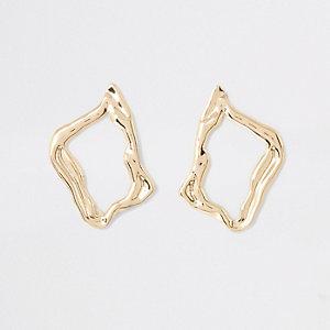 Gold colour wavy stud earrings