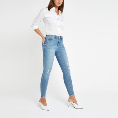 Mid Blue Mid Rise Molly Jeggings by River Island