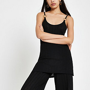 Black ribbed cami top