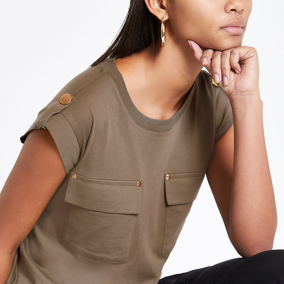 Khaki utility flap pocket T-shirt