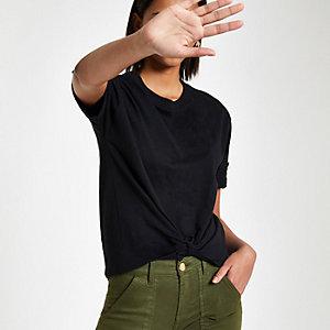Zwart T-shirt met knoop voor