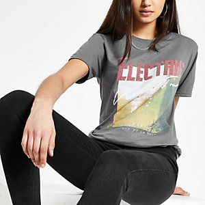 Grey 'Electric' sequin print T-shirt