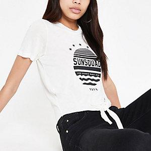 T-shirt imprimé crème noué devant