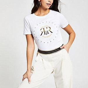 White RI embossed diamante T-shirt