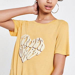 Yellow print tie front T-shirt