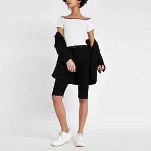 Weißer, figurbetonter Jersey-Body