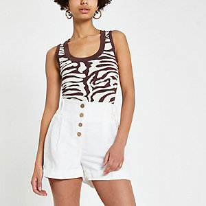 Brown animal print tank top
