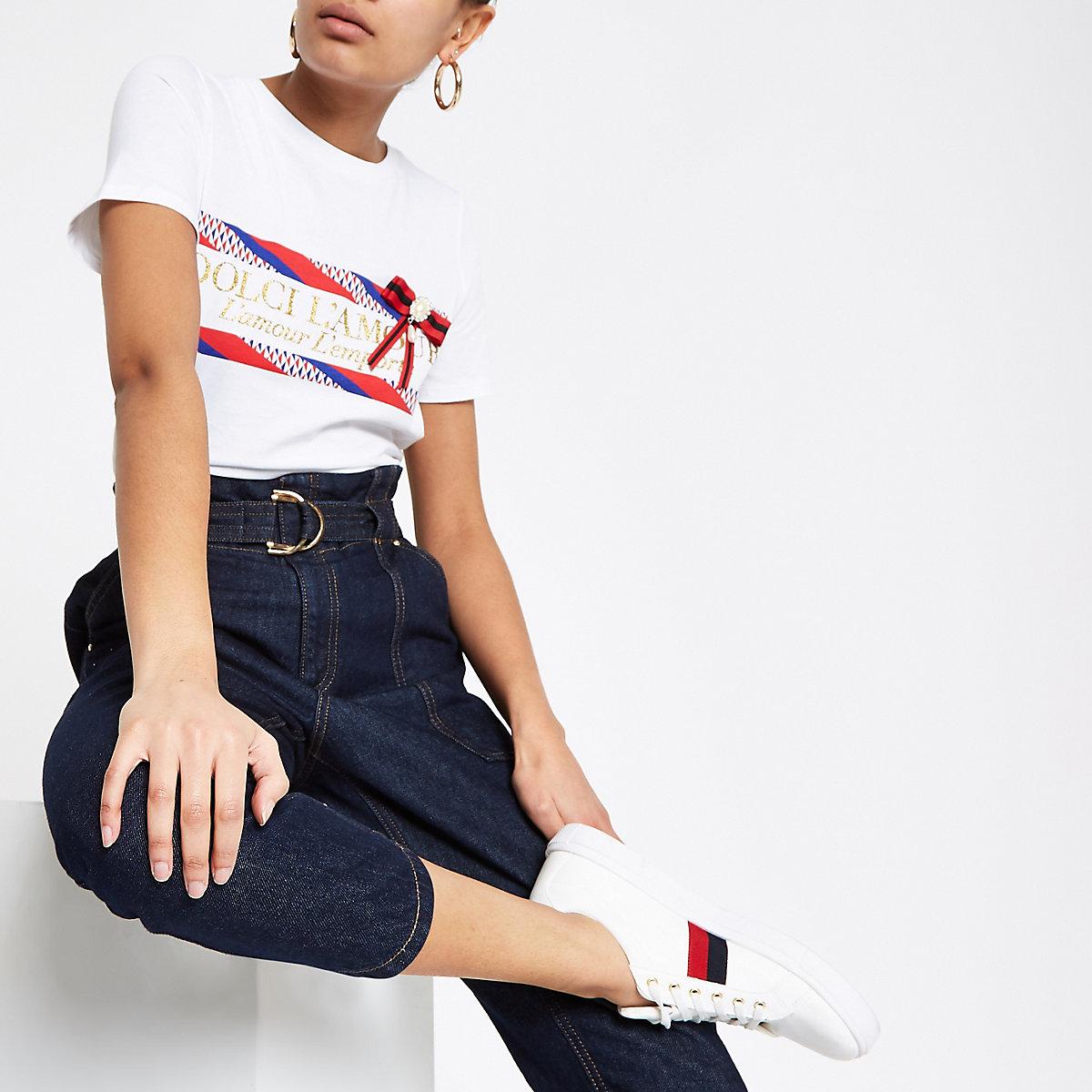White glitter print bow T-shirt