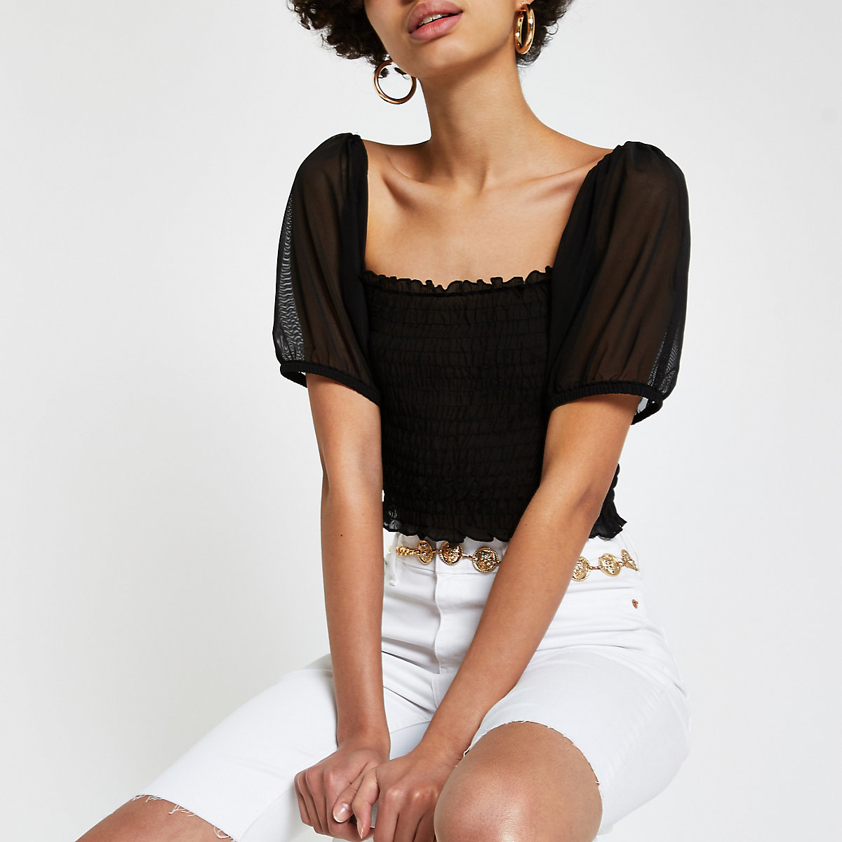 Black shirred mesh sleeve fitted top