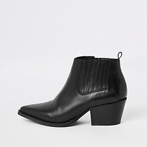 Black leather western block heel ankle boots