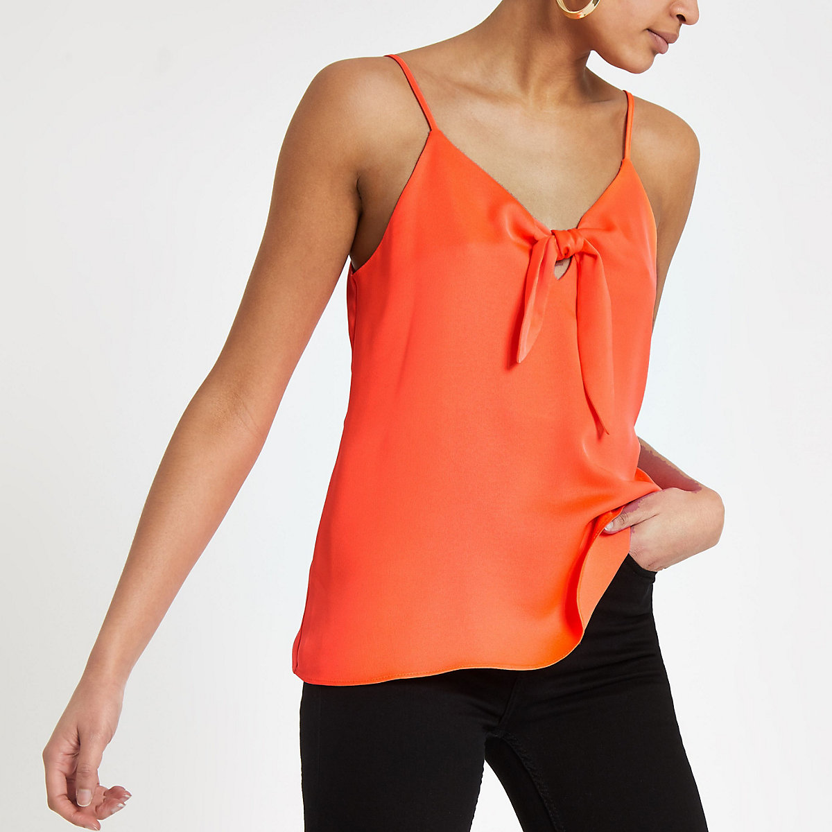 Bright orange bow front cami top