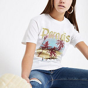 Petite white palm tree sequin print T-shirt