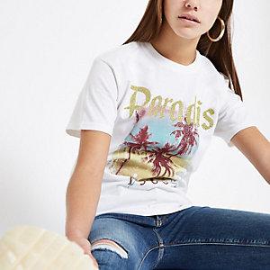 RI Petite - Wit T-shirt met palmboomprint en pailletten